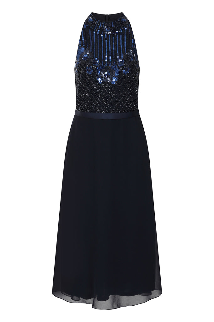 Frock and Frill Kavelle High Neck Sleeveless Embellished Skater Dress in Navy Blue
