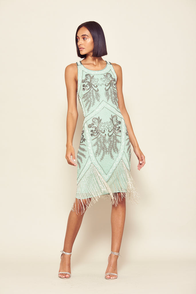 Frock and Frill Pistachio Green Invicta Embellished Fringed Cross Back Flapper Dress