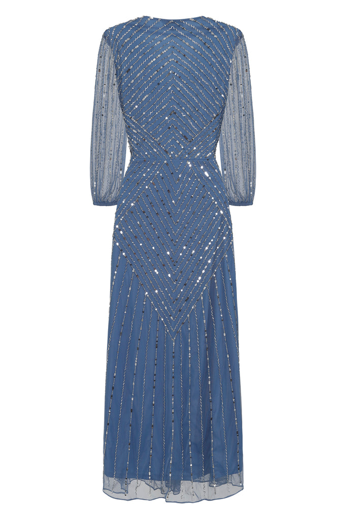 Blue embellished midi dress with wrap front and sheer sleeves