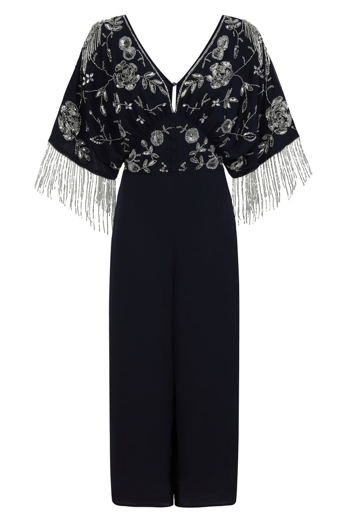 Harley Navy Kimono Sleeve Embellished Jumpsuit - Frock and Frill