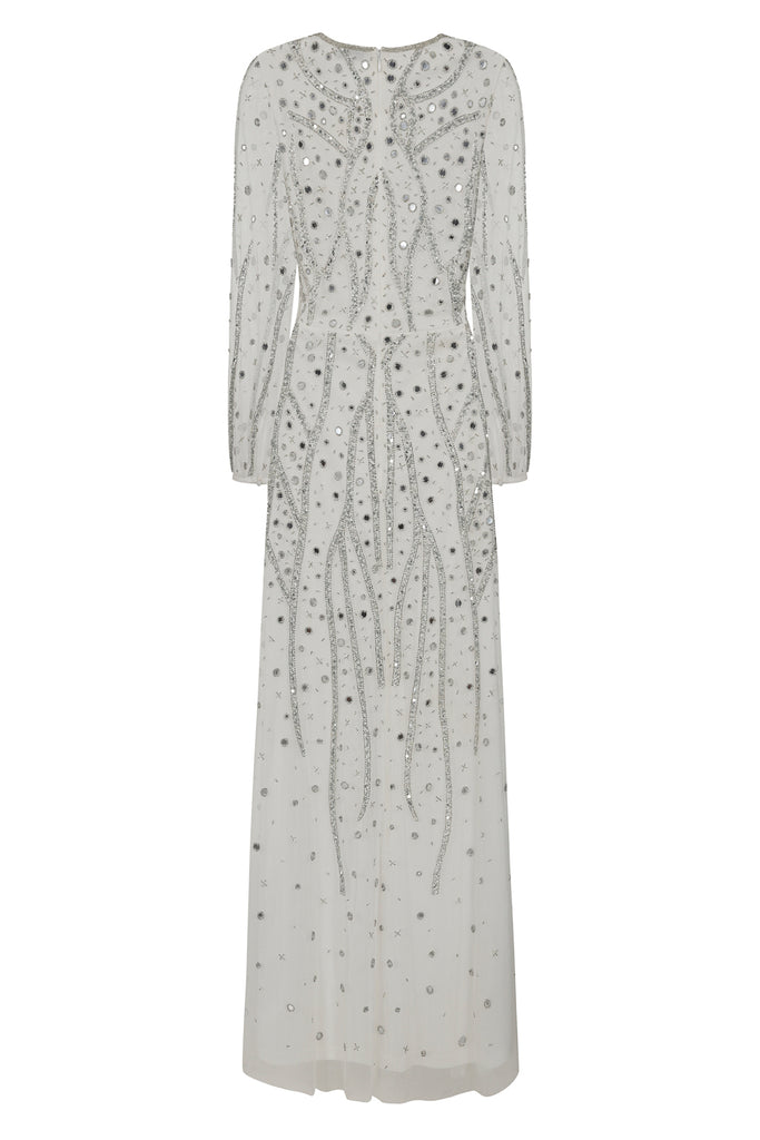 Hebe embellished long sleeve maxi dress - White - Amelia Rose - Frock and Frill