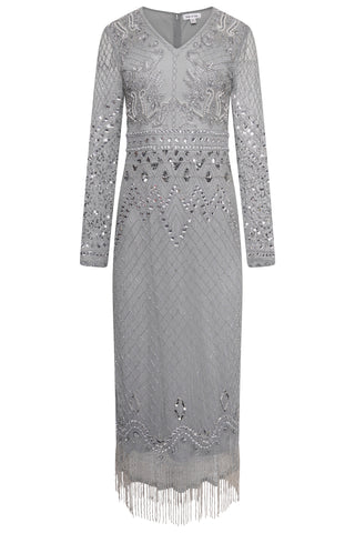 Frock and Frill Ilene Grey Long Sleeve Embellished Fringed Midi Dress