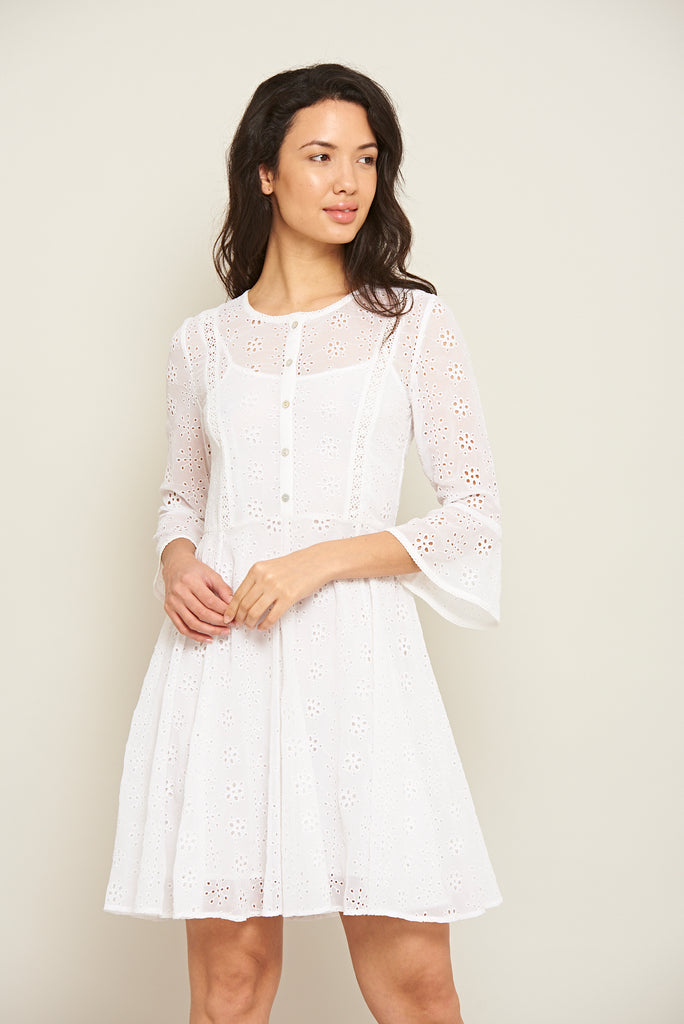Jara Broderie Dress with Fluted Sleeves - White - Amelia Rose - Frock and Frill