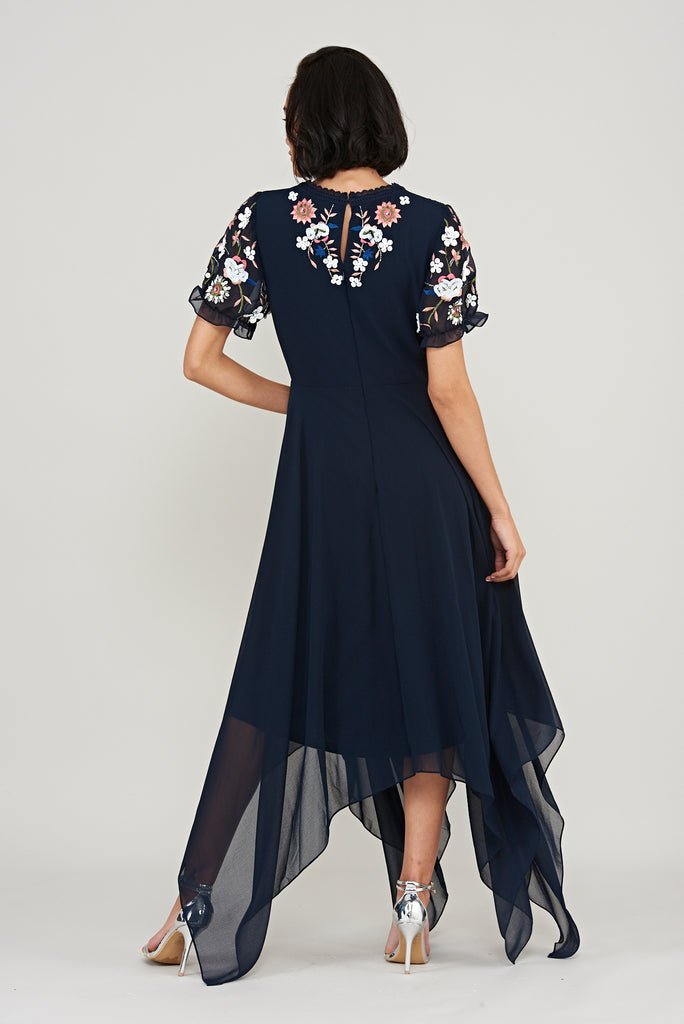 Kabira Embroidered Midi Dress - Navy - Frock and Frill