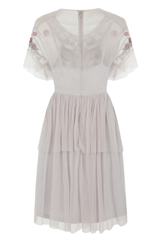 Kamri Embellished Tiered Dress - Light Grey - Frock and Frill