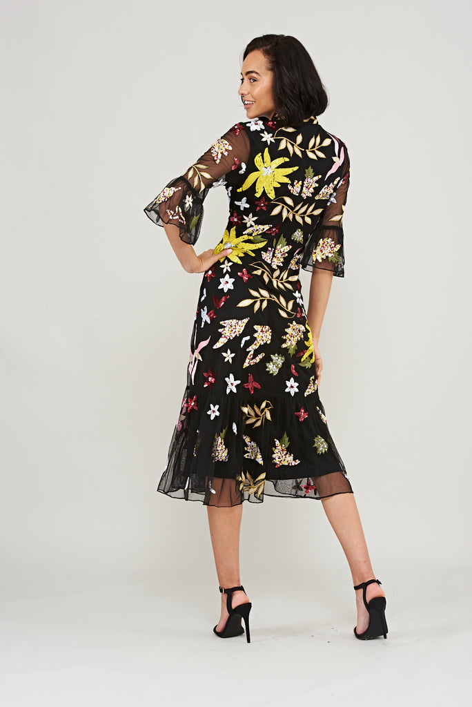 Karaline Embroidered Midi Dress in Black - Frock and Frill