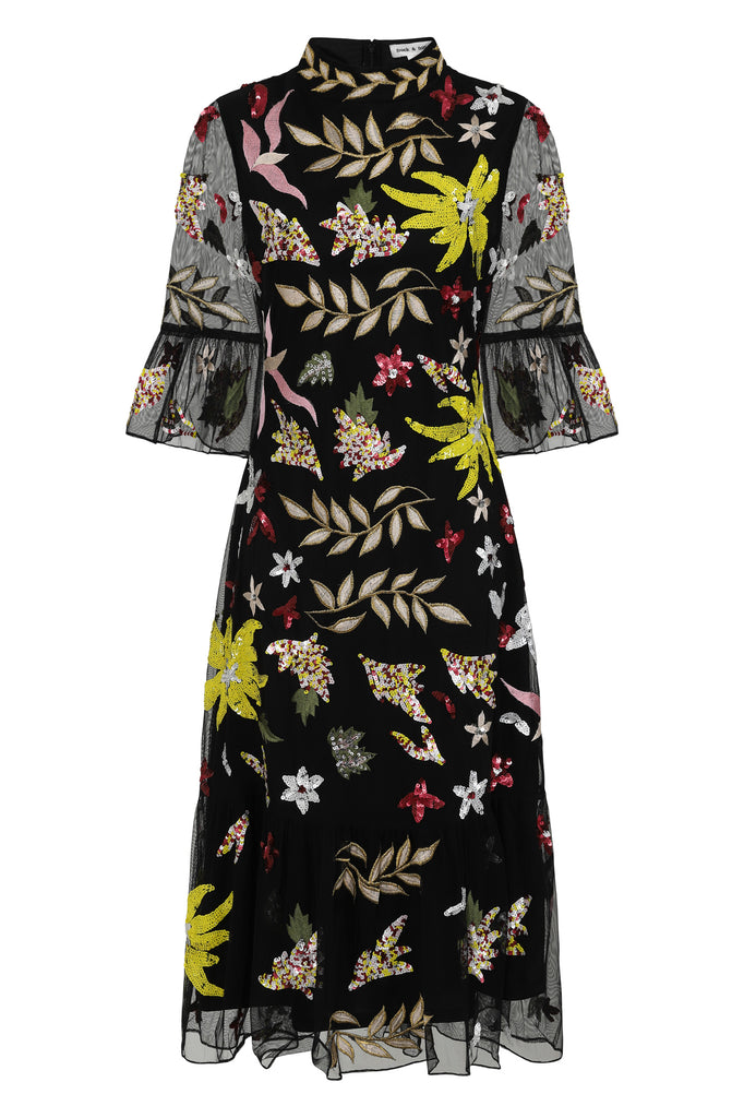 Mid length abstract floral dress with fluted sleeves