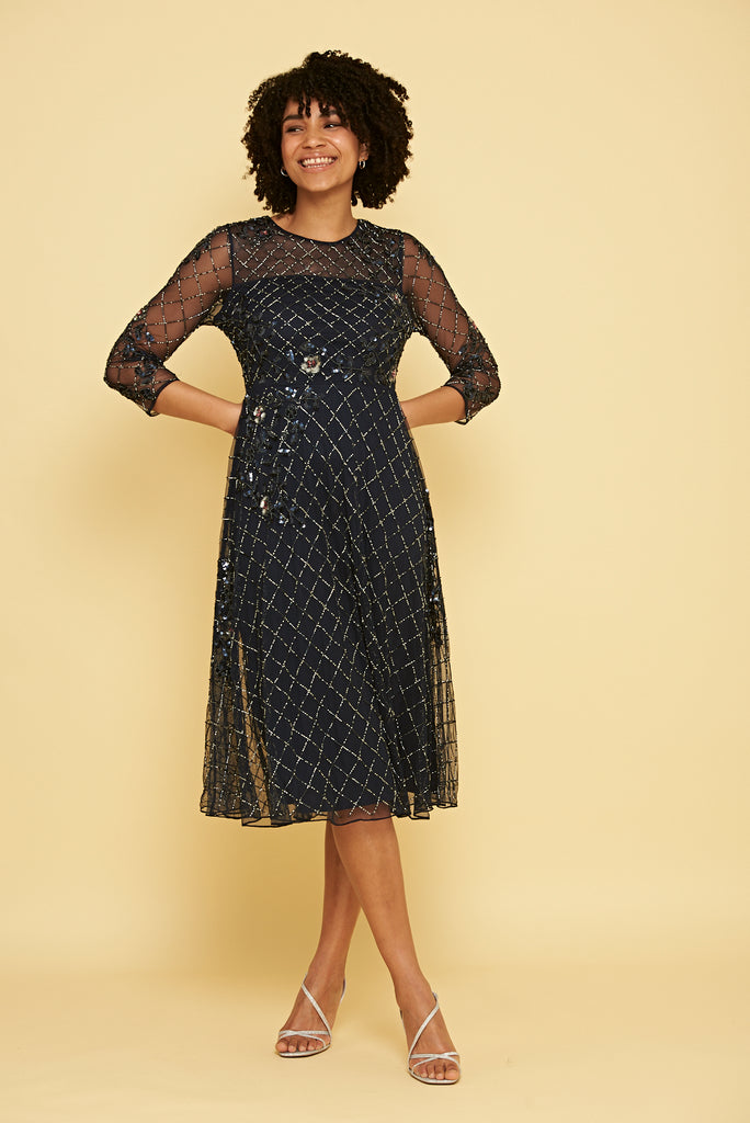 Karianne Embellished Midi Dress - Navy - Frock and Frill