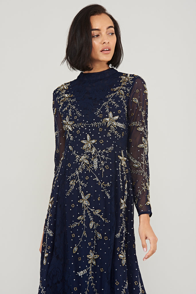 Karis Embellished Midi Dress - Navy - Frock and Frill