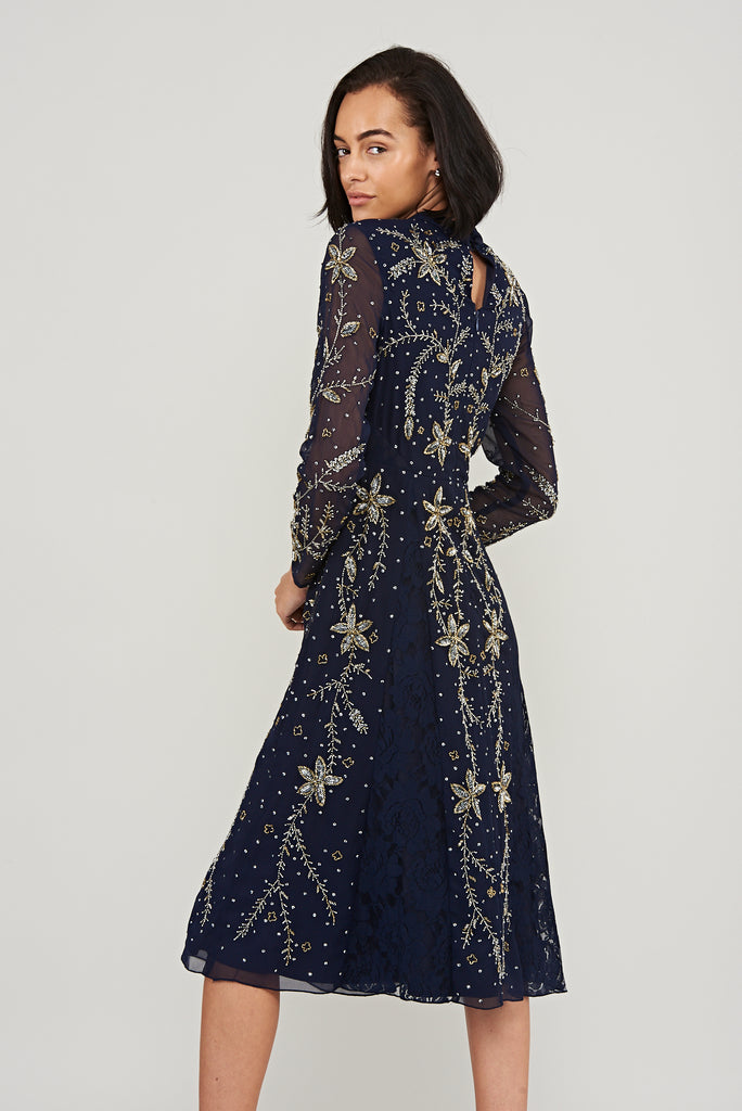Navy embellished midi dress with long sleeves