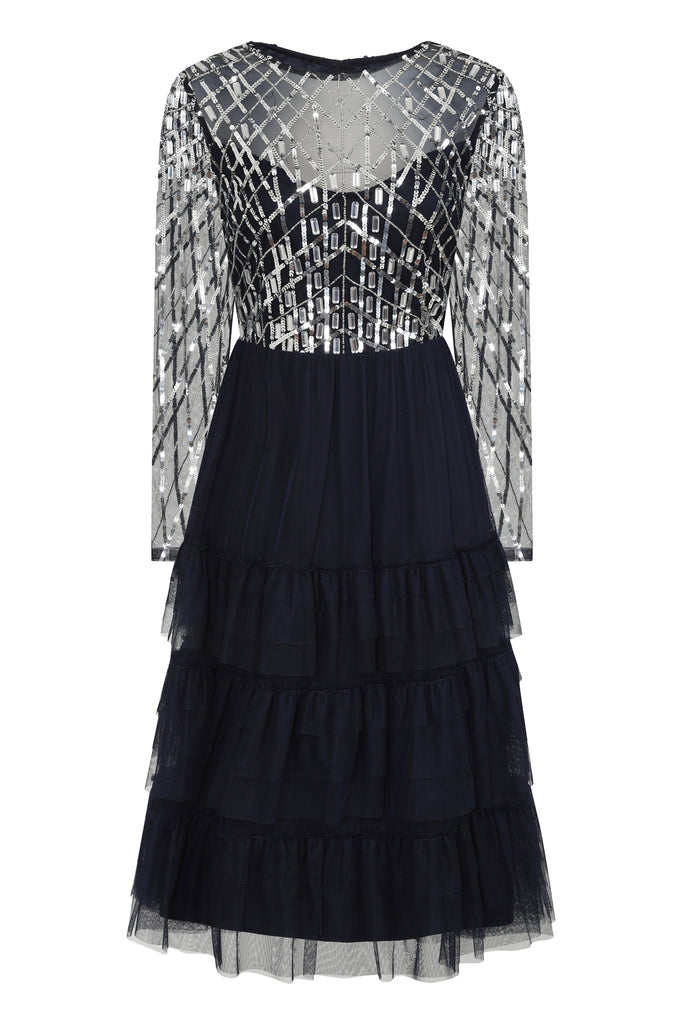 Karlena Embellished Midi Dress - Navy - Frock and Frill