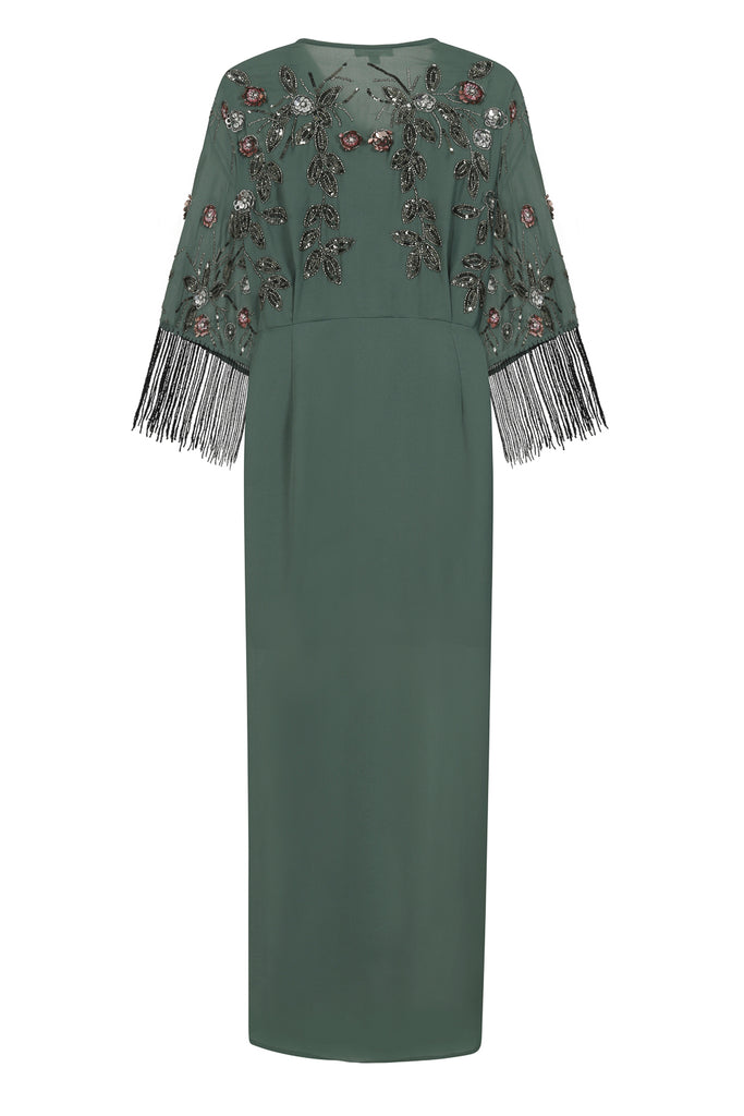 Karrie Embellished Midi Dress - Sage Green - Frock and Frill