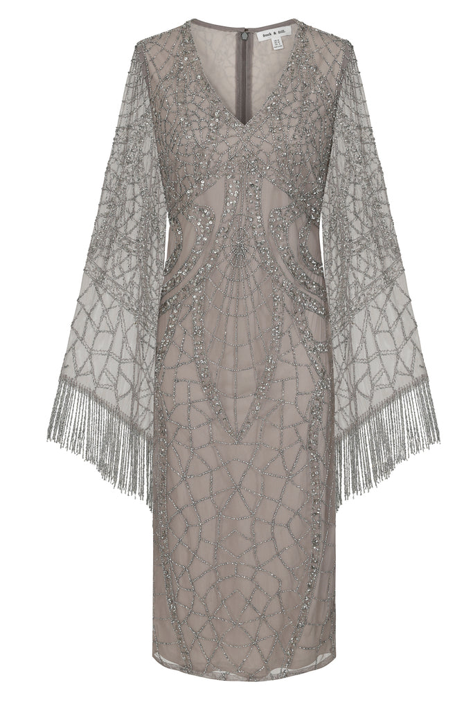 Karrisa Embellished midi dress in silver - Frock and Frill