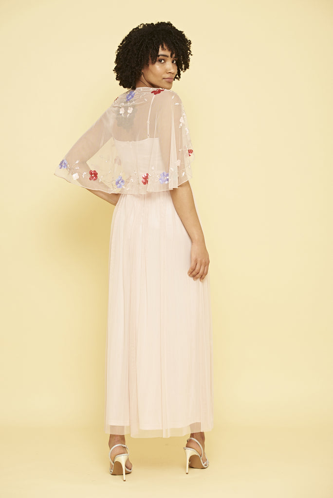 Kathlyn Cape Sleeve Maxi Dress - Blush Pink - Frock and Frill