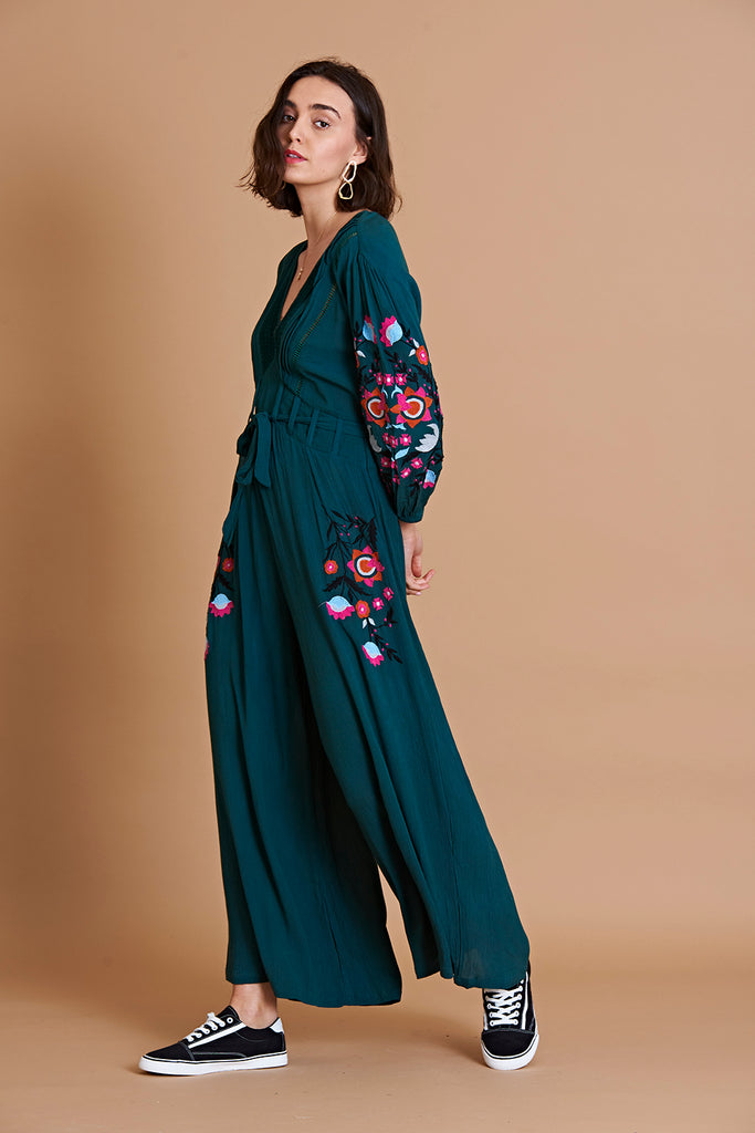 Teal embroidered jumpsuit with floral print design