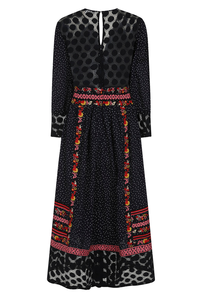 Embroidered midi dress with flowers and sheer coating