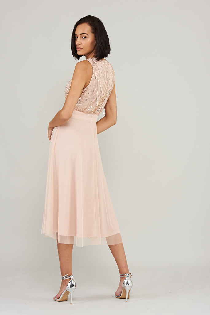 Baby pink midi dress with floaty skirt and sequin embellishment