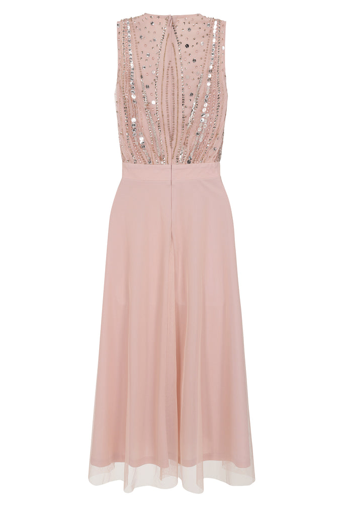 Kayda Embellished Midi Dress - Pink - Frock and Frill
