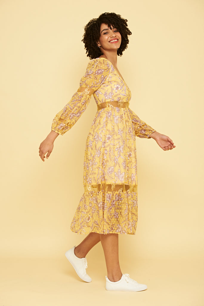 Yellow maxi dress with v neckline and lace panelling