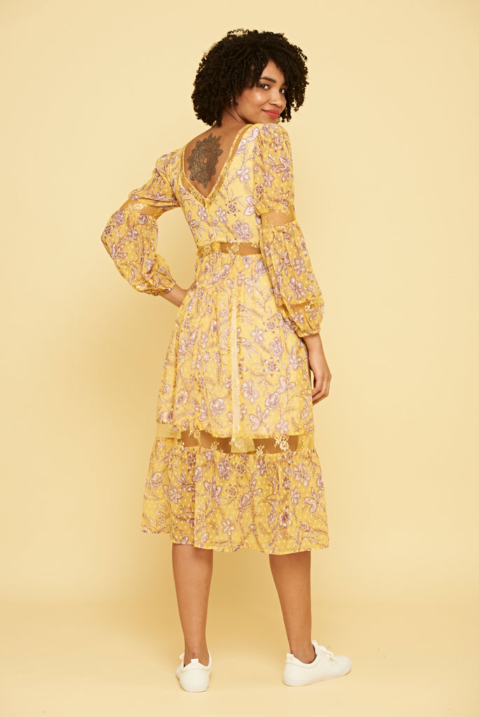 Keira Floral Midi Dress - Yellow - Frock and Frill
