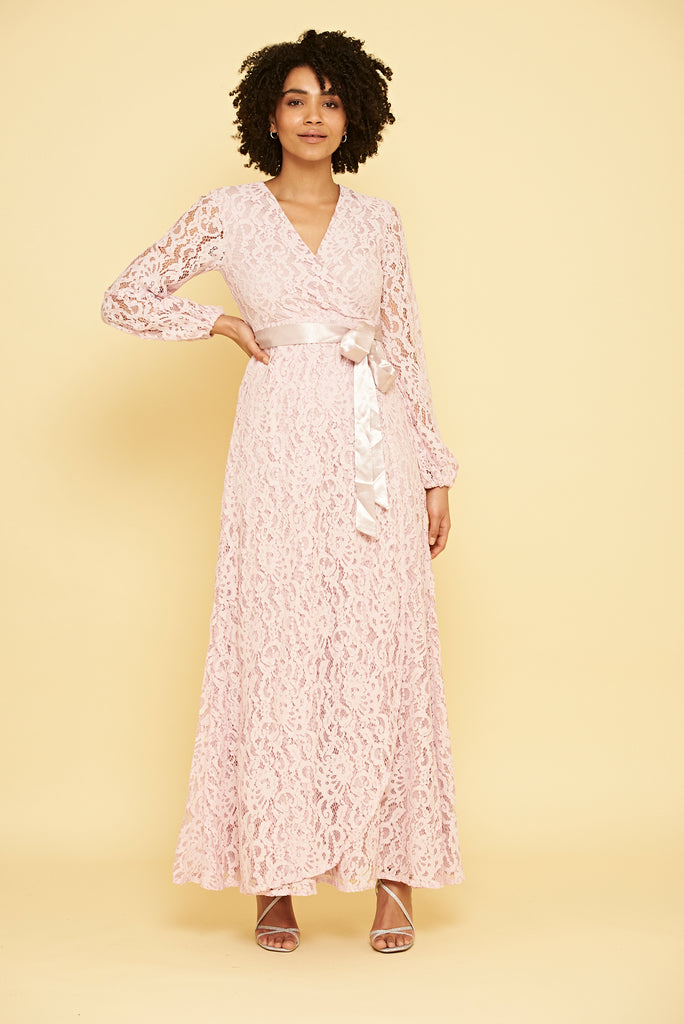 Kianna Lace Wrap Maxi Dress - Pink - Frock and Frill