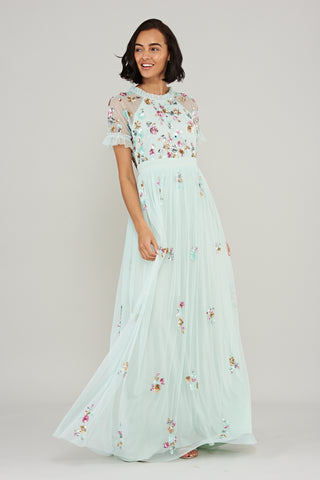 Kirsten Embellished Maxi Dress - Mint Green - Frock and Frill