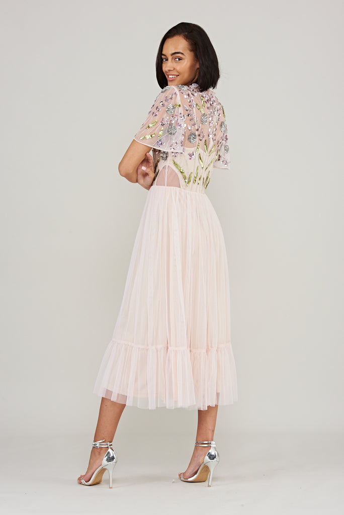 Kristiana Embellished Midi Dress - Peony Pink - Frock and Frill
