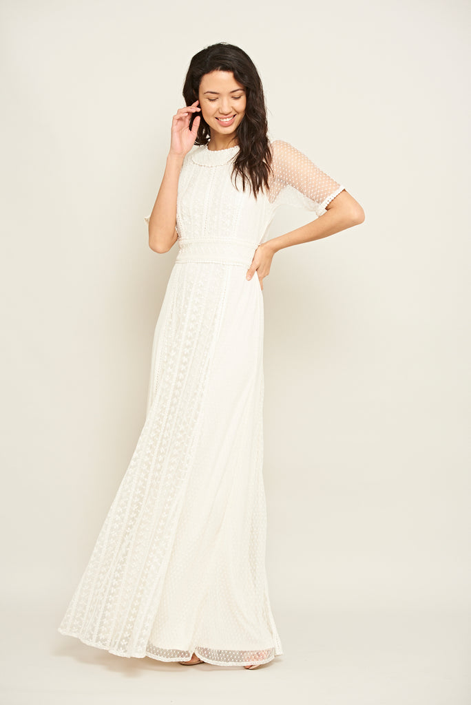Leda Lace Panel Maxi Dress - White - Amelia Rose - Frock and Frill