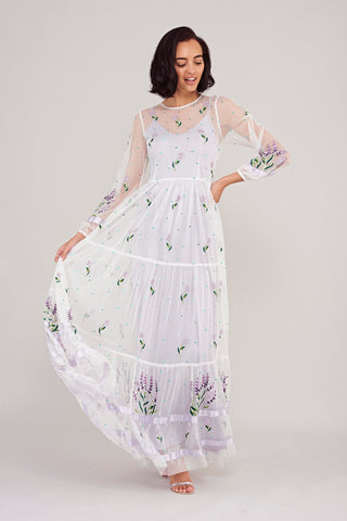 Leilah Floral Embroidered Long Sleeve Maxi Dress - White - Frock and Frill