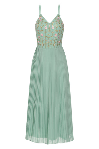 Lila Floral Embroidered Cami Midi Dress - Mint Green - Frock and Frill