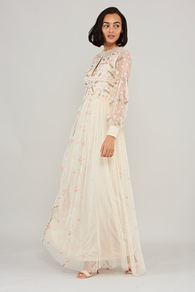 Lilliana Cream Floral Ruffled Long Sleeve Maxi Dress - Frock and Frill