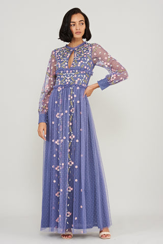 Lilliana Floral Ruffled Long Sleeve Maxi Dress - Cerulean Blue - Frock and Frill