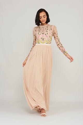 Lisanne Contrast Floral Embroidered Maxi Dress with Full Length Sleeves - Light Apricot - Frock and Frill