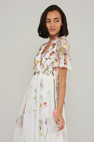 Lorella Floral Wrap Front Midi Dress - White - Frock and Frill
