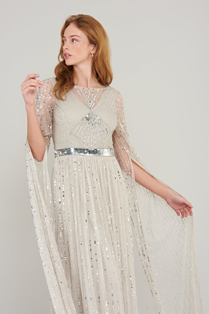 Morgan Statement Sleeve Maxi Dress - Light Grey - Amelia Rose - Frock and Frill
