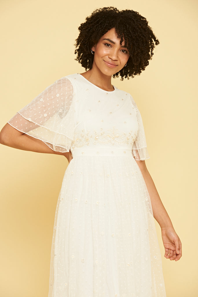 Pandora Embroidered Midi Dress - White - Amelia Rose - Frock and Frill