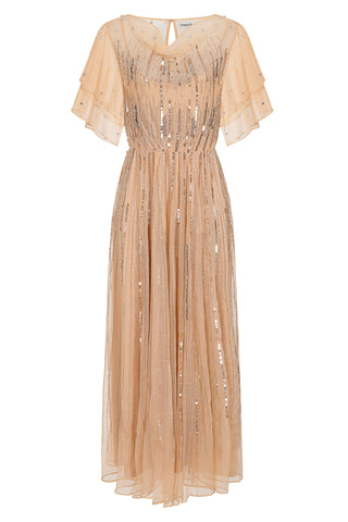 Penelope Embellished Dress - Light Blush - Amelia Rose