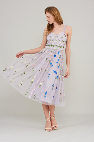 Phoebe Cami Midi Dress with Floral Embellishment - Lilac - Amelia Rose - Frock and Frill