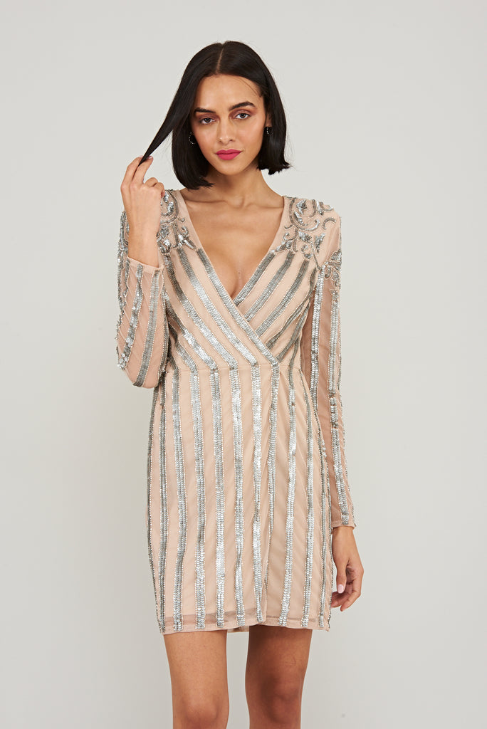 STARLET Embellished Wrap Mini Dress - Cream