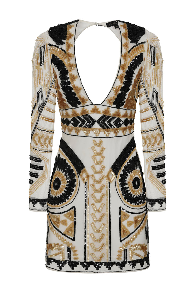 STARLET Embellished Plunge Mini Dress in White, Gold and Black