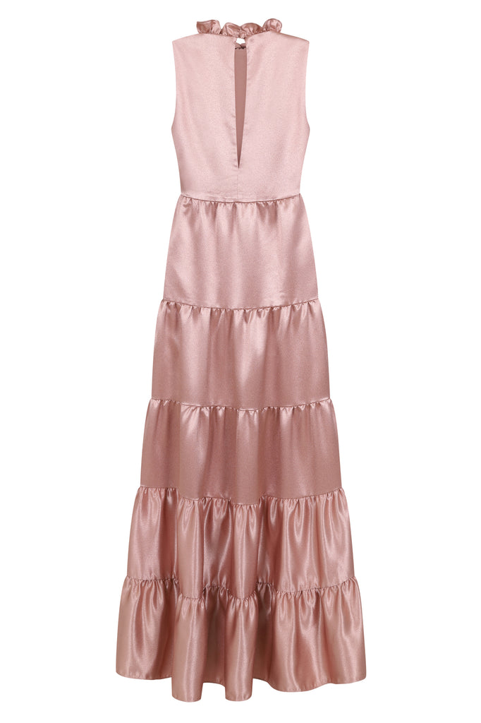 Signy High Neck Tiered Maxi Dress - Shimmer Rose - Amelia Rose - Frock and Frill
