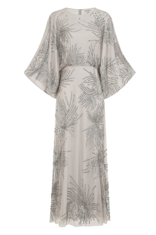 Uma Kimono Sleeve Embellished Maxi Dress - Grey - Amelia Rose - Frock and Frill