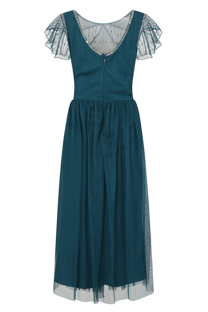 Frock and Frill Ilah Dark Turquoise Embellished Bodice Skater Midi Dress With Cap Sleeves