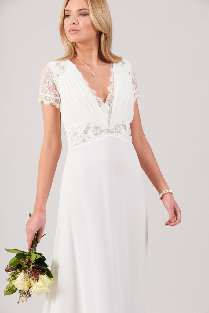 Calliope Lace Plunge Front Maxi Dress