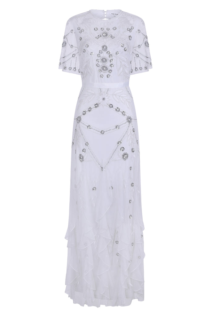 Gabrielle Embellished Maxi With Ruffle Detail