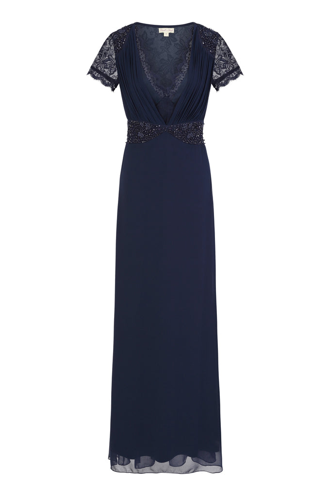 Calliope Navy Lace Plunge Front Maxi Dress