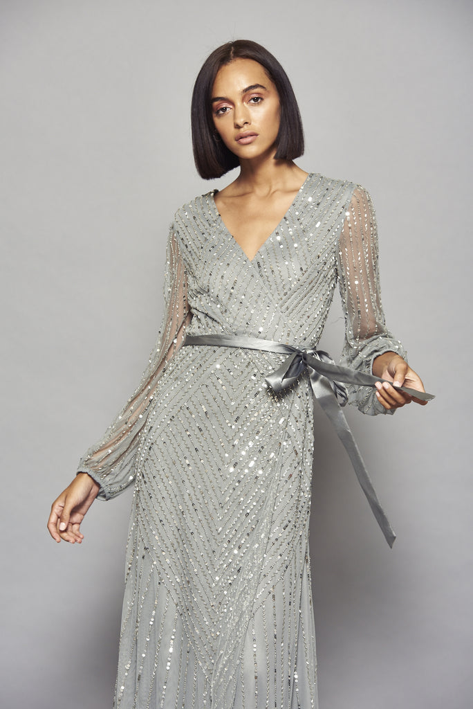 Hadriana Embellished Grey Maxi Dress With Wrap Detail