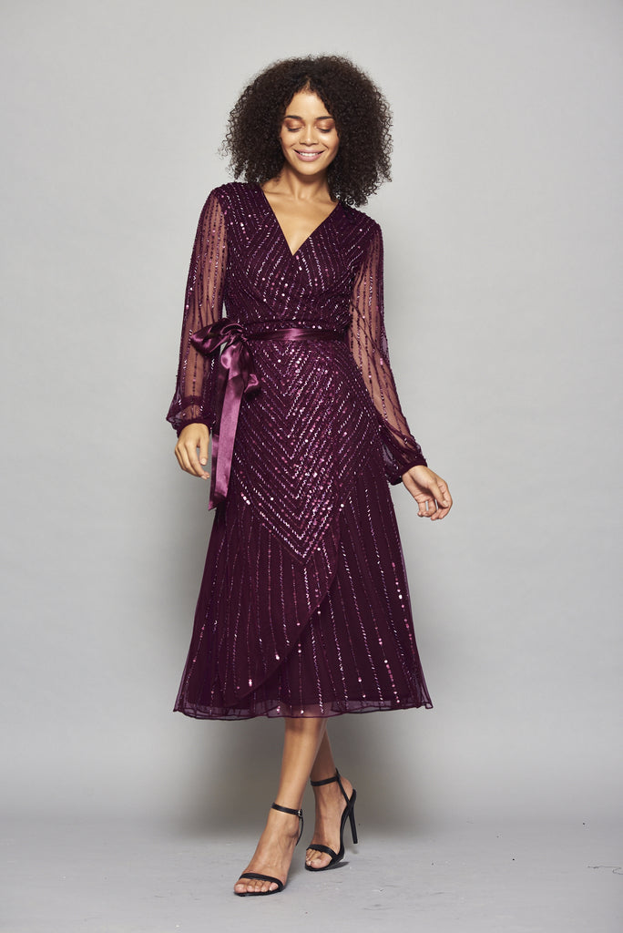 Hadriana Embellished Purple Midi Dress With Wrap Detail