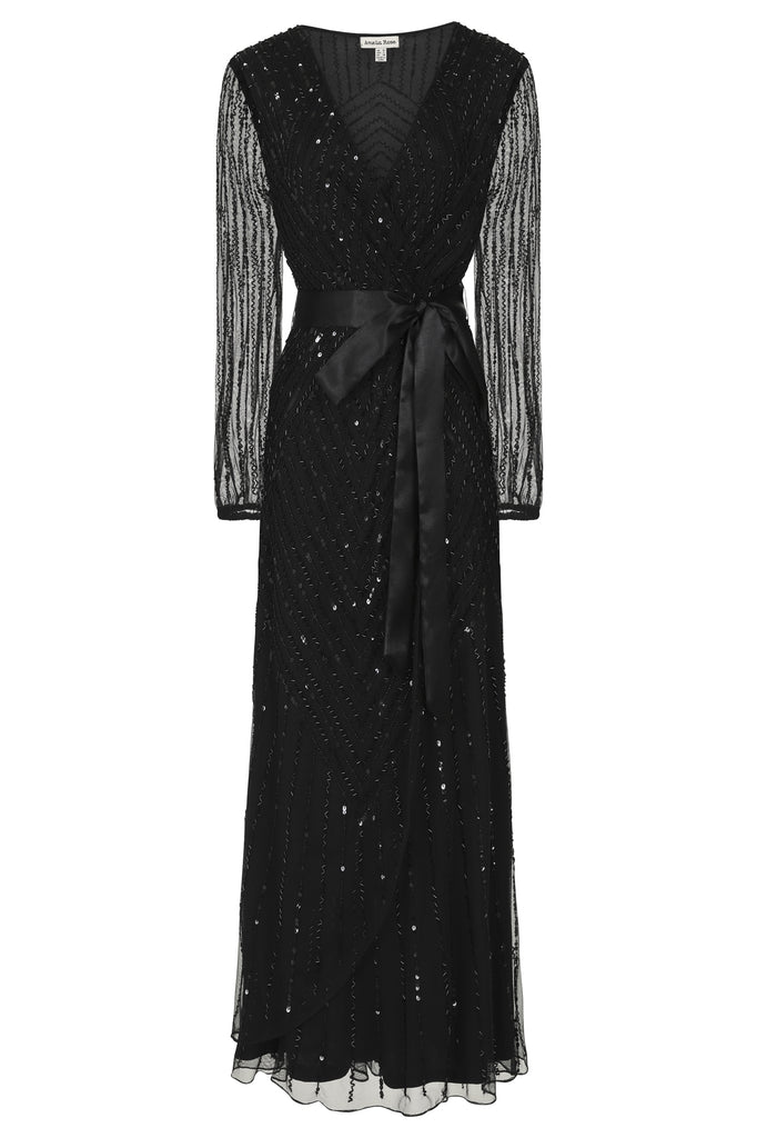 Hadriana Embellished Black Midi Dress With Wrap Detail