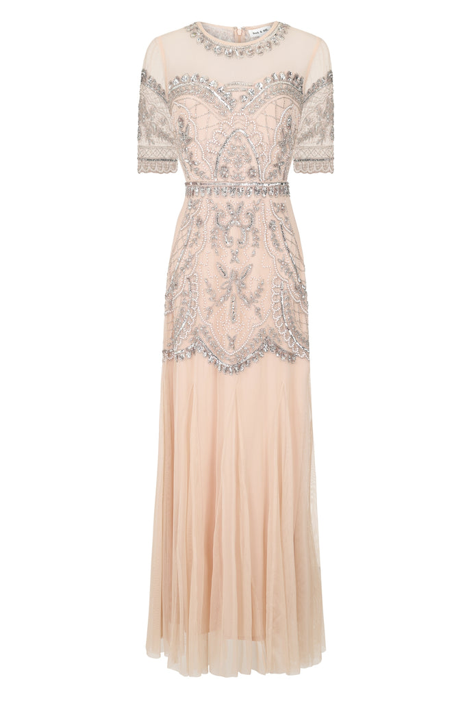 Hilda Embellished Mesh Top Maxi Dress